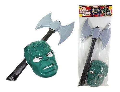 Kit Máscara Hulk + Machado Coleção Heróis Gladiador Infantil