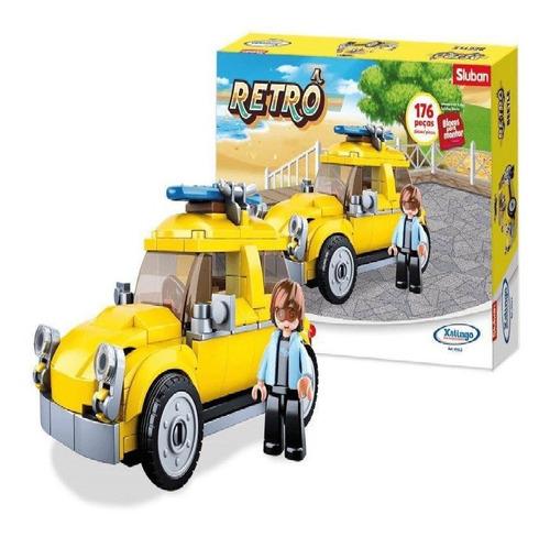 Bloco De Montar Retrô Mini Carro 176 Peças - Beetle Amarelo