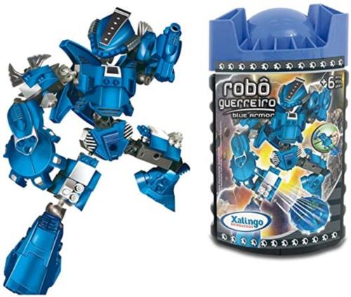 Blocos De Montar Robô Guerreiro Azul Armor 59 Peças Xalingo