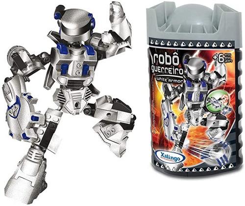 Blocos De Montar Robô Guerreiro Prata Armor 59 Peças Xalingo