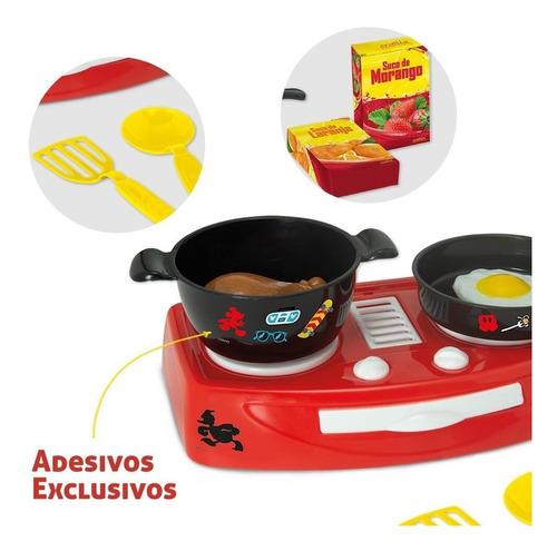 Kit Completo Fogão Com Comidinhas Brinquedo Mickey Disney