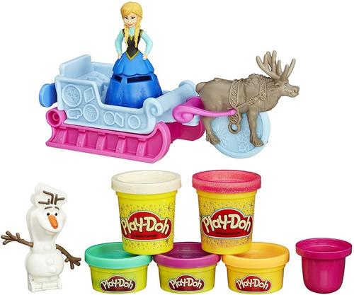 Massinha Play-doh Frozen Aventura Trenó Com 5 Potes + Moldes