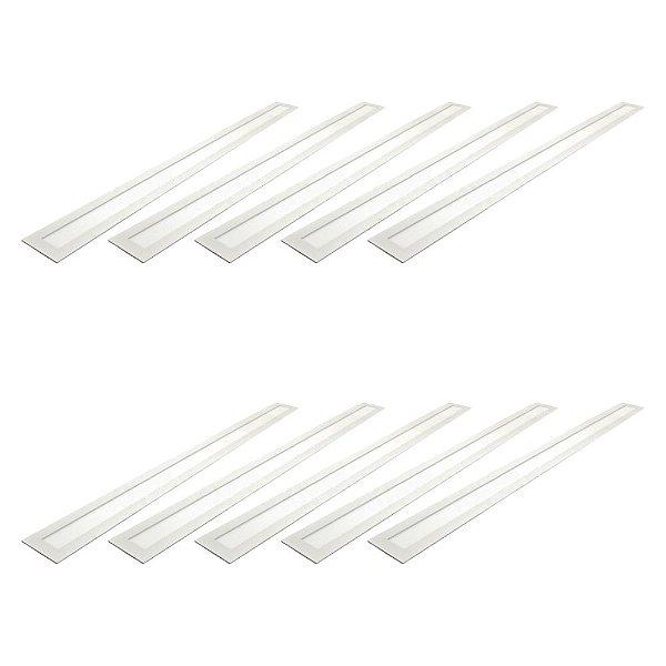 Kit 10 Luminária Plafon LED 30W 10x120 Retangular Embutir Branco Frio 6000k