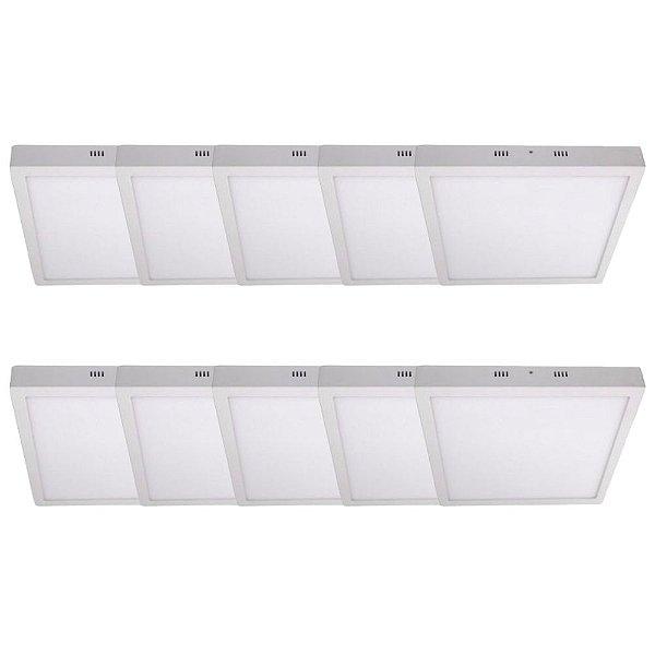 KIT 10 Luminária Plafon LED 36W 40x40 Quadrado De Sobrepor Branco Frio 6000k