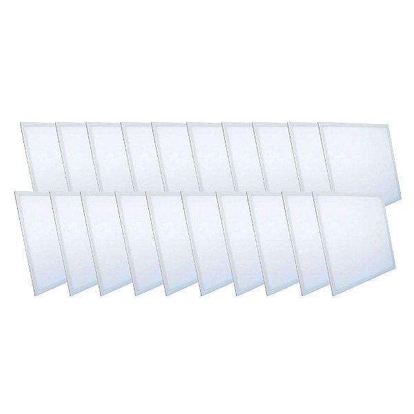 KIT 20 Luminária Plafon LED 48W 60x60 Quadrado De Embutir Branco Frio 6000k