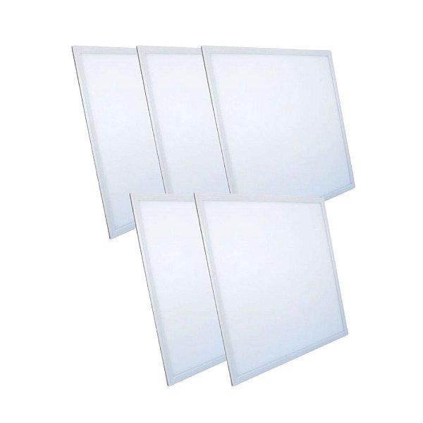 KIT 5 Luminária Plafon LED 48W 60x60 Quadrado De Embutir Branco Frio 6000k