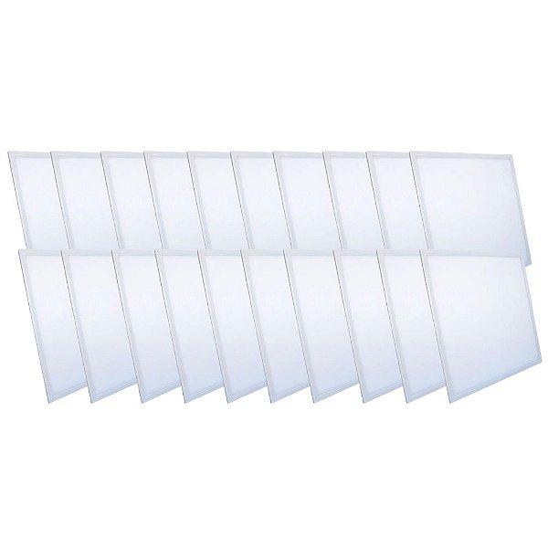 KIT 20 Luminária Plafon LED 48W 62x62 Quadrado Embutir Branco Frio 6000k