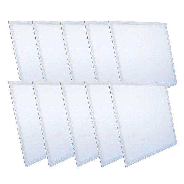 KIT 10 Luminária Plafon LED 48W 62x62 Quadrado Embutir Branco Frio 6000k