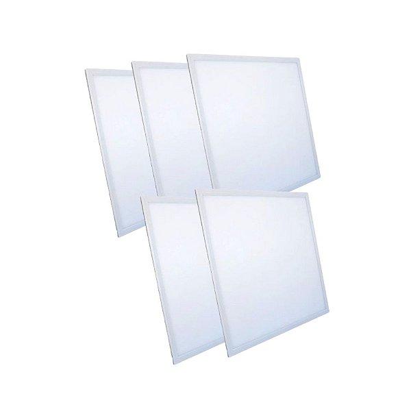 KIT 5 Luminária Plafon LED 48W 62x62 Quadrado Embutir Branco Frio 6000k