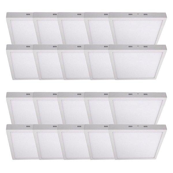 KIT 20 Luminária Plafon LED 48W 60x60 Quadrado Sobrepor Branco Frio 6000k