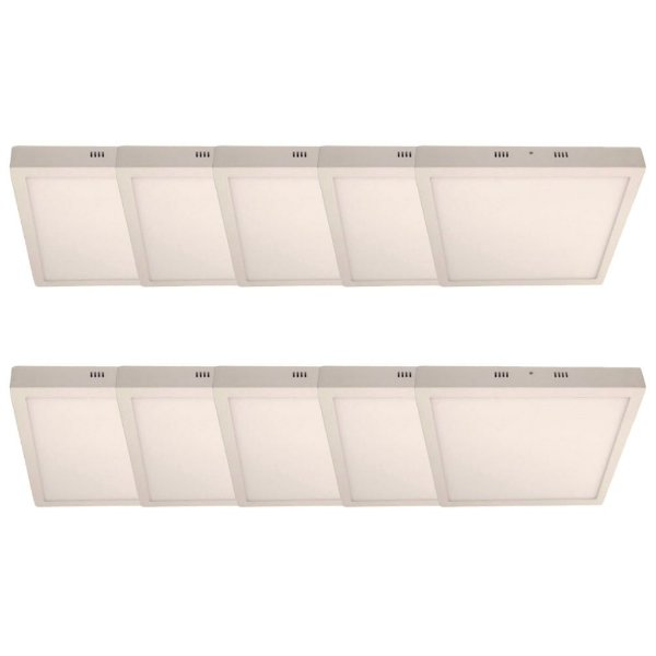KIT 10 Luminária Plafon LED 36W 40x40 Quadrado De Sobrepor Branco Quente 3000k