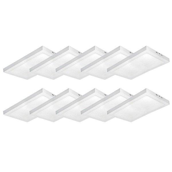 KIT 10 Luminária Plafon LED 36W 30x60 Quadrado De Sobrepor Branco Frio 6000k