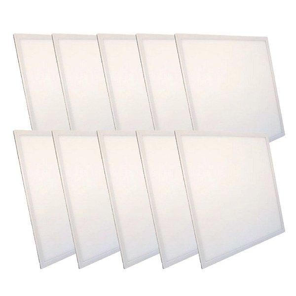 KIT 10 Luminária Plafon LED 36W 40x40 Quadrado Embutir Branco Quente 3000k