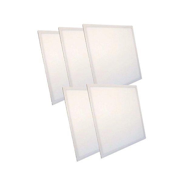 KIT 5 Luminária Plafon LED 48W 62x62 Quadrado Embutir Branco Quente 3000k