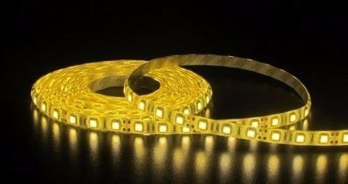 Fita LED 5050 Branco Quente S/Silicone Prova D'água 5 Metros + Fonte