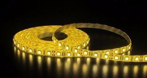 Fita LED 3528 Branco Quente S/Silicone Prova D'água 5 Metros + Fonte