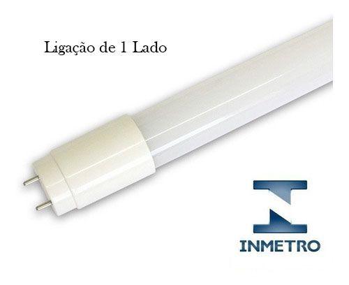 Lâmpada Tubular INMETRO 18W 120cm LED Ho T8 Bivolt Branco Frio 6000k  1 Lado