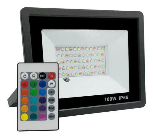 Refletor Com Memoria Holofote LED 100W IP66 A prova D'Água RGB Multicolorido