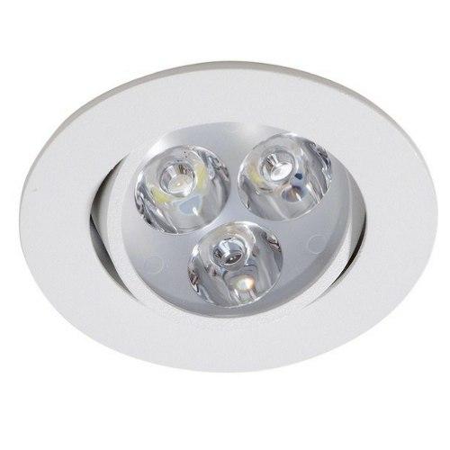 Spot 3W LED Dicróica Direcionavel Redondo Gesso Sanca De Embutir Branco Quente 3000k