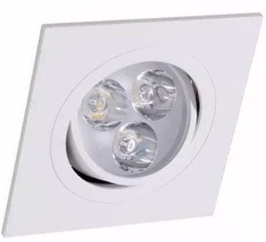 Spot 3W LED Dicróica Direcionavel Quadrado Gesso Sanca De Embutir Branco Quente 3000k