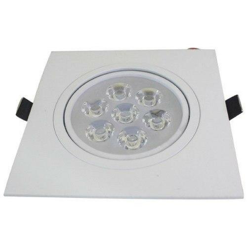 Kit 10 Spot 7W LED Dicróica Direcionavel Quadrado Gesso Sanca Branco Frio 6000k