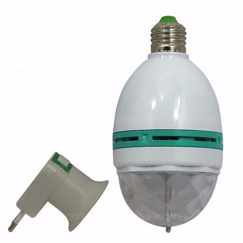 Lâmpada 3W LED Rotativa Giratória RGB Colorida Festa