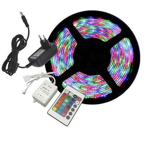 Kit 10 Fita LED 3528 RGB Multicolorido Siliconada Prova D'água 5 Metros + Fonte