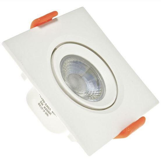 Kit 10 Spot 3W LED Dicróica Direcionavel Quadrado Gesso Sanca Branco Quente 3000k