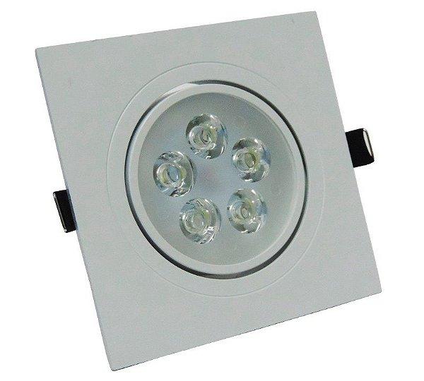 Kit 10 Spot 5W LED Dicróica Direcionavel Quadrado Gesso Sanca Branco Quente 3000k