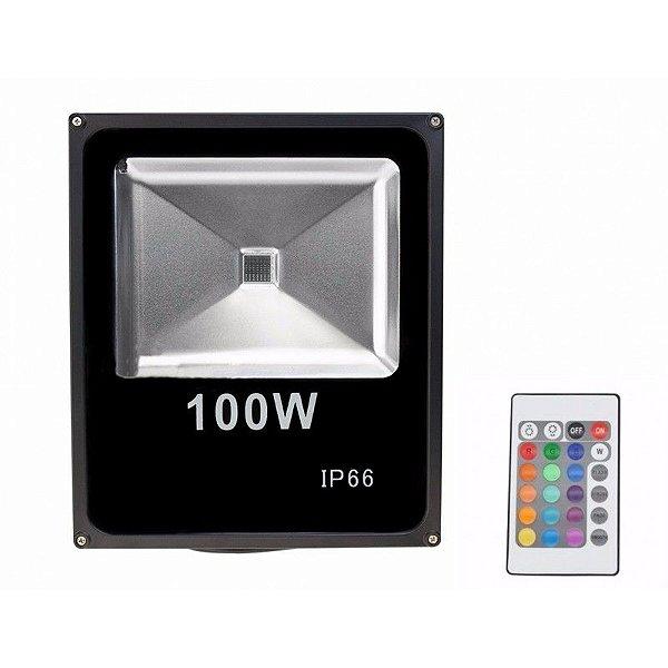 Refletor LED Holofote 100w IP65 A prova D'Água RGB Multicolorido + Controle Remoto