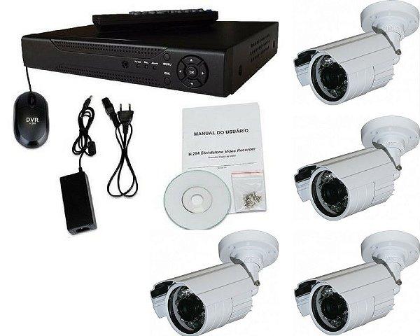 Kit 4 Câmeras Infravermelho 50 metros 1000 Linhas Ir Cut E Blc Externa e DVR de 4 Canais