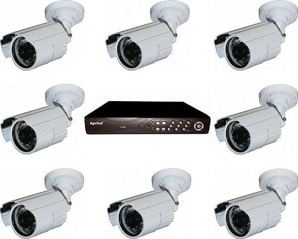 Kit com 8 Câmeras Infravermelho 50 metros 1000 Linhas Ir Cut E Blc Externa e DVR de 8 Canais
