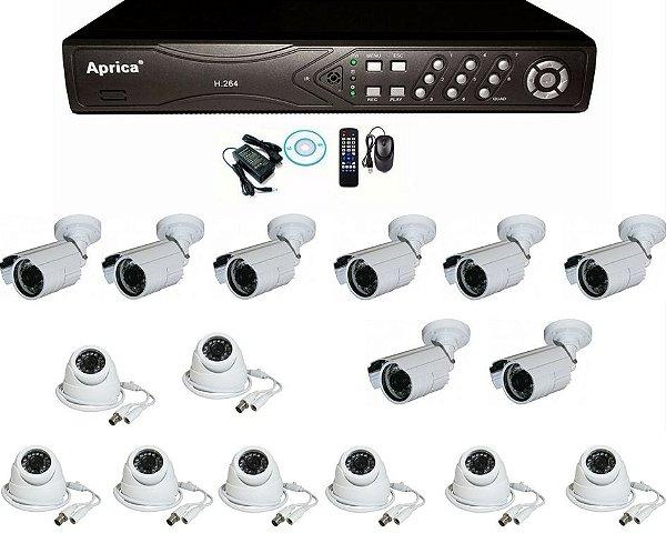 Kit 16 Câmeras Ir Cut E Blc Externa Dome Ccd Infravermelho e DVR de 16 Canais