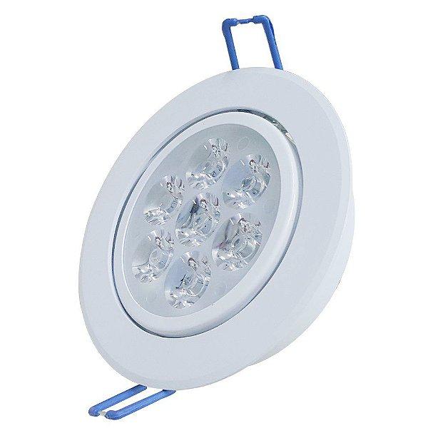 Kit 10 Spot 7W LED Dicróica Direcionavel Redondo Gesso Sanca Branco Frio 6000k