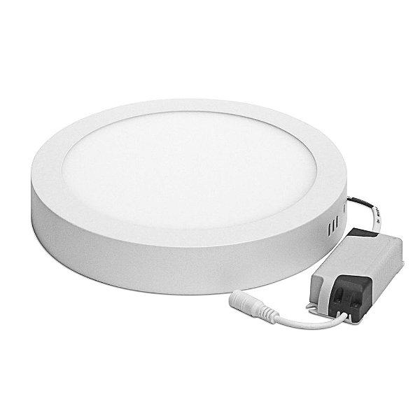 Kit 10 Luminárias Plafon LED 18W 22x22 Redondo Sobrepor Branco Frio 6000k