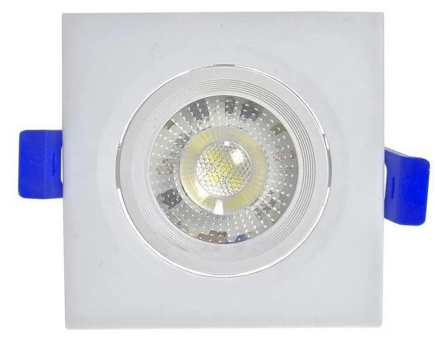 Spot 5W LED Dicróica COB Direcionavel Quadrado Gesso Sanca De Embutir Branco Quente 3000k
