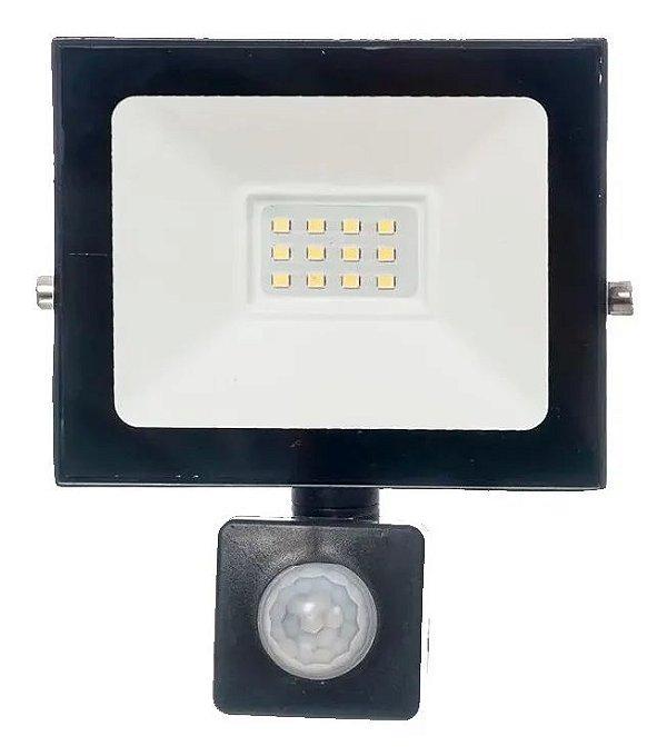Refletor Holofote LED 10W Com Sensor de Presença Prova d´água Fotocélula Branco Frio 6000k