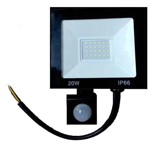 Refletor Holofote LED 20W Com Sensor de Presença A Prova d´Água Fotocélula Branco Frio 6000k