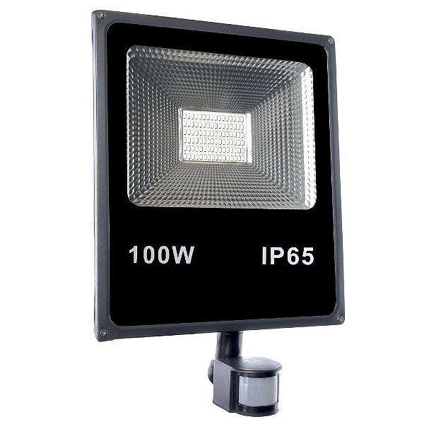Refletor Holofote LED 100W Com Sensor de Presença A Prova d´Água Fotocélula Branco Frio 6000k
