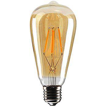 Lâmpada 8W LED ST64 Filamento Pera Vintage Tomas Edison Bivolt Branco Quente 2700k