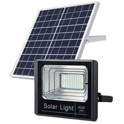 Refletor Painel Solar 60W LED Bateria Recarregável Litio Com Controle Branco Frio IP67