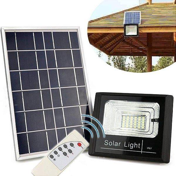 Refletor Painel Solar 40W LED Bateria Recarregavel Litio Com Controle Branco Frio IP67