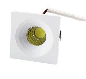 Mini Spot LED 3W De Embutir Quadrado Teto Cob Branco Frio 6000k