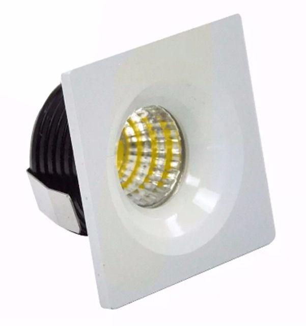 Mini Spot LED 3W De Embutir Quadrado Teto Cob Branco Quente 3000k