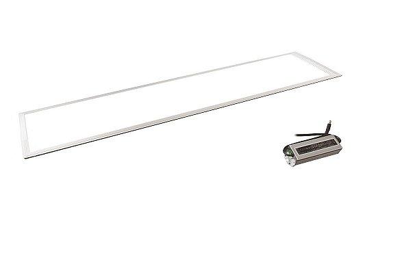 Luminária Plafon LED 45W 30x120 Retangular De Embutir Branco Quente 3000k