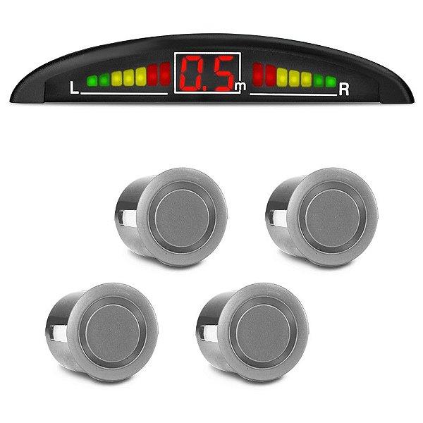 Sensor De Estacionamento Ré Display LED Sinal Sonoro Cor Prata