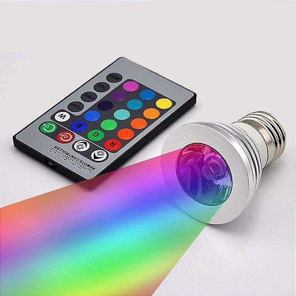 Lâmpada 3W LED 16 Cores RGB Com Controle 24 Funções E27 Spot