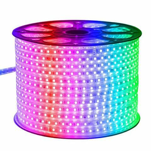Fita LED 220v 5050 100 Metros RGB Multicolorido A prova D'Água