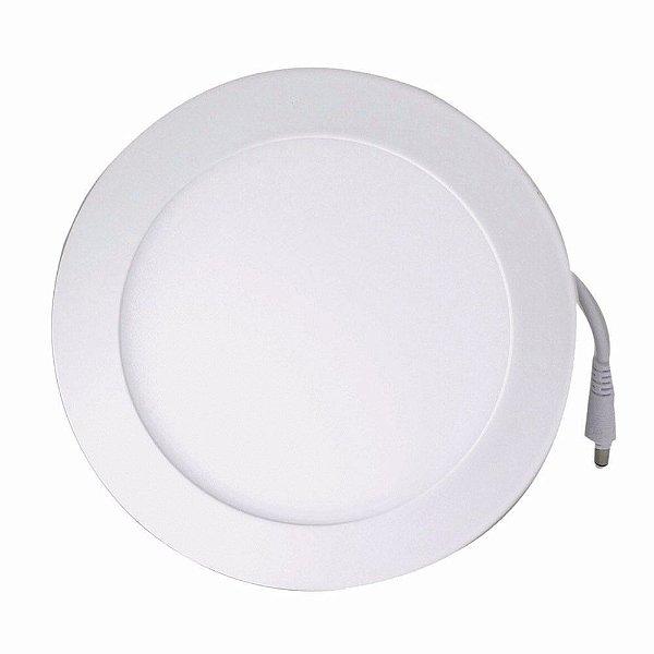 Luminária Plafon LED 12W 17x17 Redondo De Embutir Branco Frio 6000k