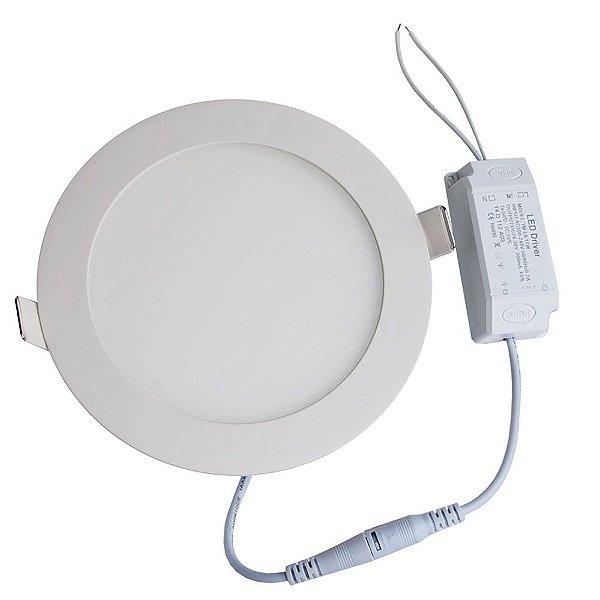 Luminária Plafon LED 3W 8x8 Redondo De Embutir Branco Frio 6000k